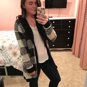 Leith Black and White Plaid Cardigan Sweater